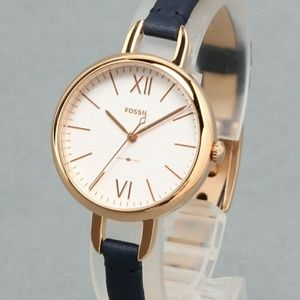 NWT FOSSIL Annette Watch Navy Leather ES4359 